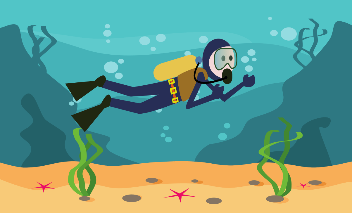 A diver in underwater