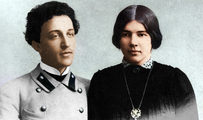 Lyubov, Mendeleev's daughter from his second marriage, with her husband Alexander Blok