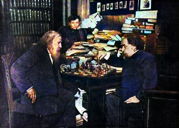 Dmitri Mendeleev playing chess with Arkhip Kuindzhi, and Anna watching them