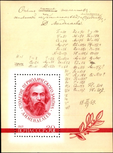 Dmitri Mendeleev on a USSR's sheet, 20 June 1969