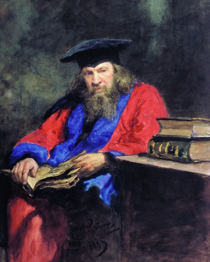 Dmitri Mendeleev wearing a robe at the Edinburgh University