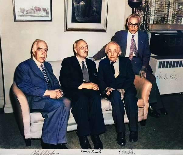 Niels Bohr, James Franck, Albert Einstein, and I. I. Rabi in 1954