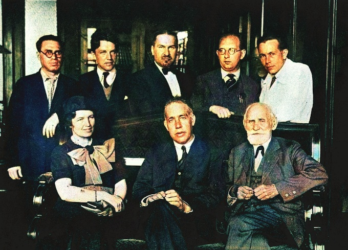 I. P. Pavlov with Niels Bohr and Mrs Bohr, 1935