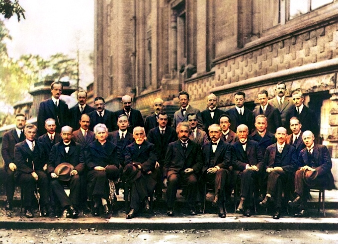 Niels Bohr with other prominent scientists at the 5th Solvay conference in 1927