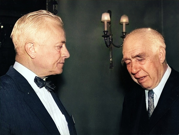 Niels Bohr with IAEA Director General Sterling Cole in 1960